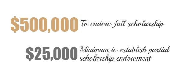 $500,000 full scholarship endowment, $25,000 minimum to establish